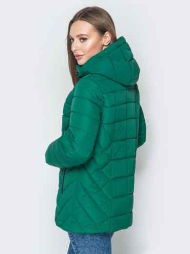 Зелёная куртка со съёмным капюшоном и карманами на молнии - 20296, фото 3 – интернет-магазин Dressa