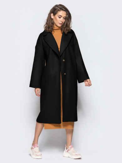 Объемное демисезонное пальто на запах черное 55378, фото 1