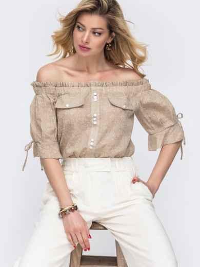 Бежевая блузка с принтом и открытыми плечами 48420, фото 1