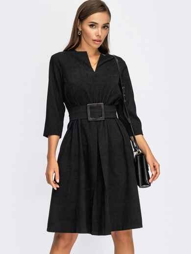 Черное платье-трапеция из вельвета с фигурным вырезом 55127, фото 1