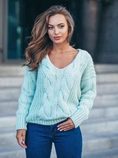 Джемпер бирюзового цвета с объемными рукавами - 17038, фото 1 – интернет-магазин Dressa