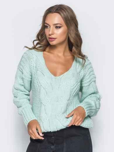Джемпер бирюзового цвета с объемными рукавами - 17038, фото 2 – интернет-магазин Dressa