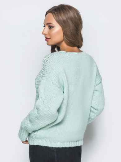 Джемпер бирюзового цвета с объемными рукавами - 17038, фото 3 – интернет-магазин Dressa