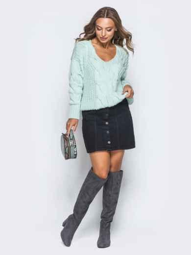 Джемпер бирюзового цвета с объемными рукавами - 17038, фото 4 – интернет-магазин Dressa