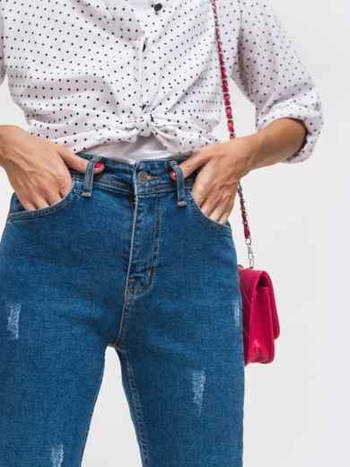 Джинсы прямого кроя с завышенной талией - 41917, фото 3 – интернет-магазин Dressa