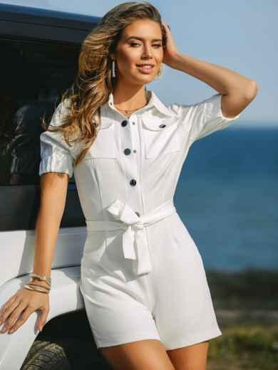 Комбинезон белого цвета с накладными карманами 48454, фото 3