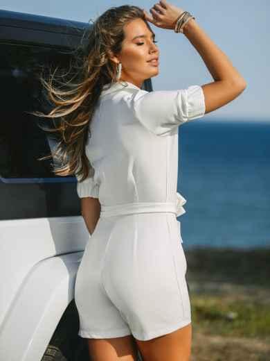 Комбинезон белого цвета с накладными карманами 48454, фото 4