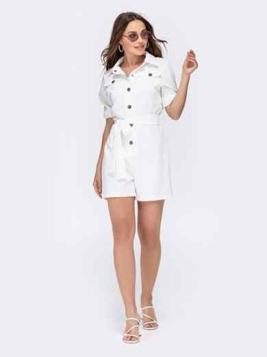 Комбинезон белого цвета с накладными карманами 48454, фото 5