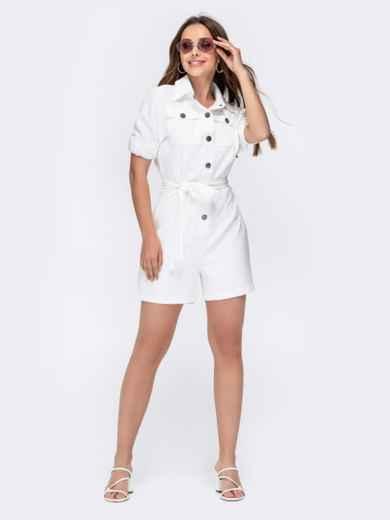 Комбинезон белого цвета с накладными карманами 48454, фото 6