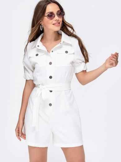 Комбинезон белого цвета с накладными карманами 48454, фото 7