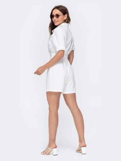 Комбинезон белого цвета с накладными карманами 48454, фото 8
