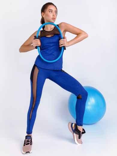 Комплект для фитнеса синего цвета из топа и лосин 44710, фото 2