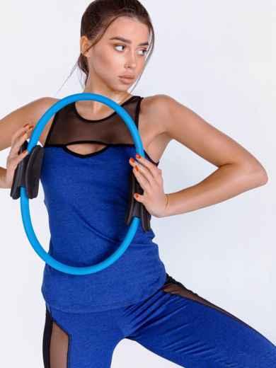 Комплект для фитнеса синего цвета из топа и лосин 44710, фото 3