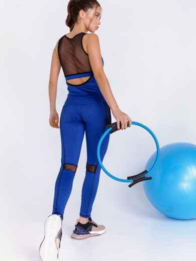 Комплект для фитнеса синего цвета из топа и лосин 44710, фото 4