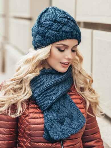 Комплект из шапки и шарфа темно-синий 15565, фото 1