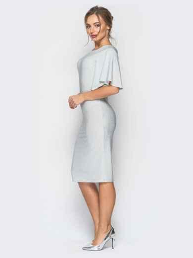 Платье белого цвета из люрекса с расклешенным рукавом - 18338, фото 2 – интернет-магазин Dressa