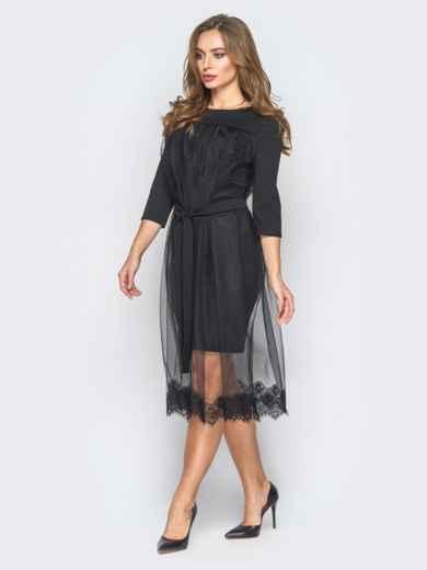Платье из креп-дайвинга с фатином черное - 18344, фото 2 – интернет-магазин Dressa