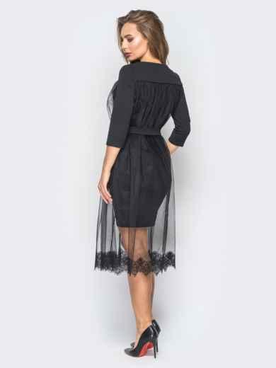 Платье из креп-дайвинга с фатином черное - 18344, фото 3 – интернет-магазин Dressa