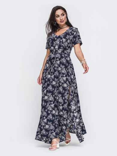 Платье-макси большого размера с цветочным принтом тёмно-синее 49804, фото 1