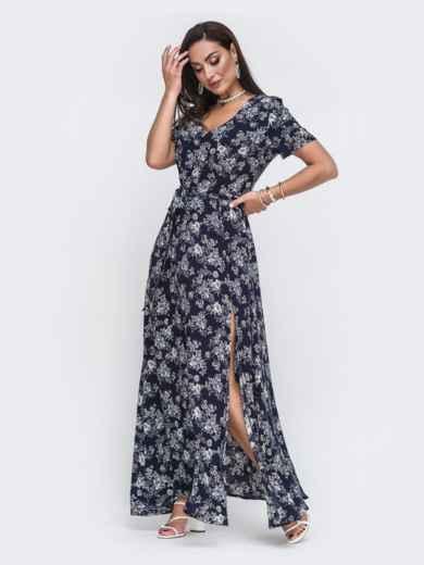 Платье-макси большого размера с цветочным принтом тёмно-синее 49804, фото 2