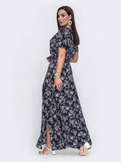Платье-макси большого размера с цветочным принтом тёмно-синее 49804, фото 3