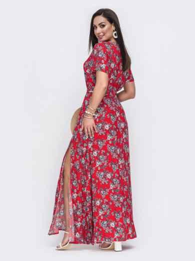 Платье-макси большого размера с цветочным принтом красное 49806, фото 2