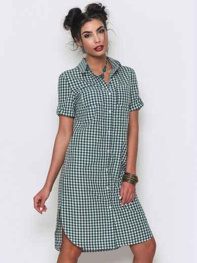 Платье-рубашка в клетку с накладными карманами на груди 12611, фото 1