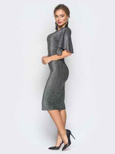Платье серого цвета из люрекса с расклешенным рукавом - 18351, фото 2 – интернет-магазин Dressa