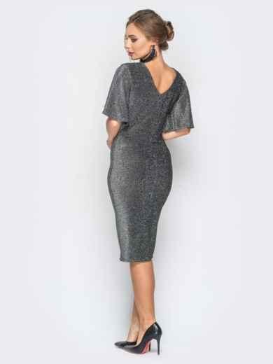 Платье серого цвета из люрекса с расклешенным рукавом - 18351, фото 3 – интернет-магазин Dressa
