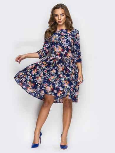 Платье в цветочный принт с юбкой-плиссе - 13610, фото 2 – интернет-магазин Dressa