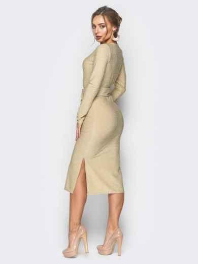 Платье золотистого цвета из люрекса с поясом в комплекте - 18335, фото 3 – интернет-магазин Dressa