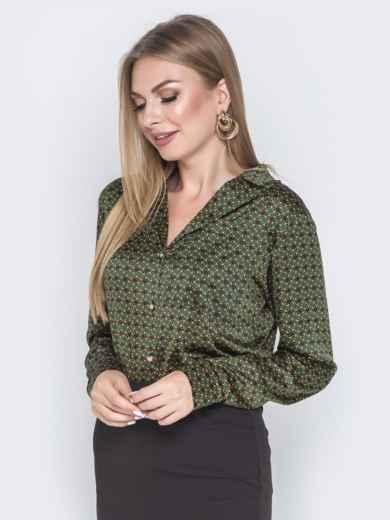 Шелковая рубашка зеленого цвета с принтом - 40254, фото 2 – интернет-магазин Dressa
