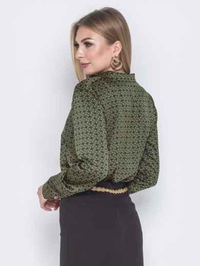 Шелковая рубашка зеленого цвета с принтом - 40254, фото 3 – интернет-магазин Dressa