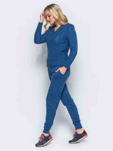 Синий комплект с v-образной  горловиной на свитере - 16084, фото 3 – интернет-магазин Dressa