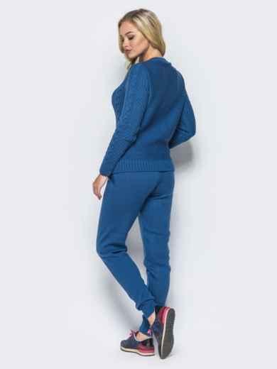 Синий комплект с v-образной  горловиной на свитере - 16084, фото 4 – интернет-магазин Dressa