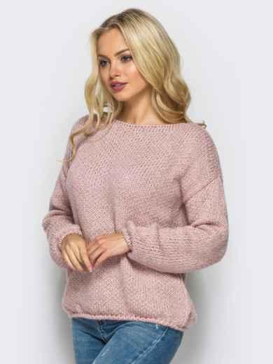 Свободный свитер со спущенным плечевым швом пудровый - 13038, фото 3 – интернет-магазин Dressa