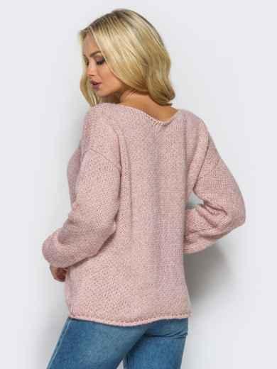 Свободный свитер со спущенным плечевым швом пудровый - 13038, фото 4 – интернет-магазин Dressa