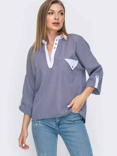 Тёмно-синяя блузка в узкую полоску с V-вырезом 49463, фото 1