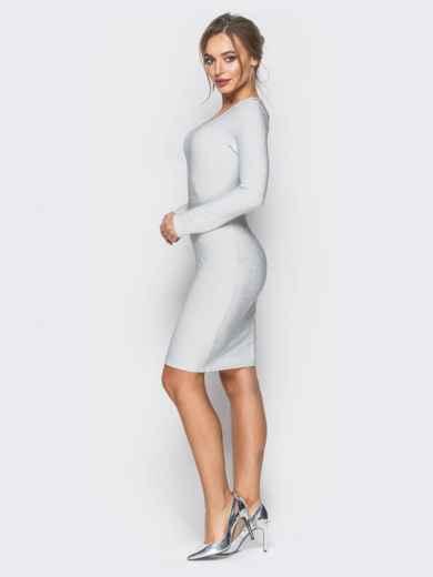 Трикотажное платье с нитью люрекса белое - 18328, фото 2 – интернет-магазин Dressa