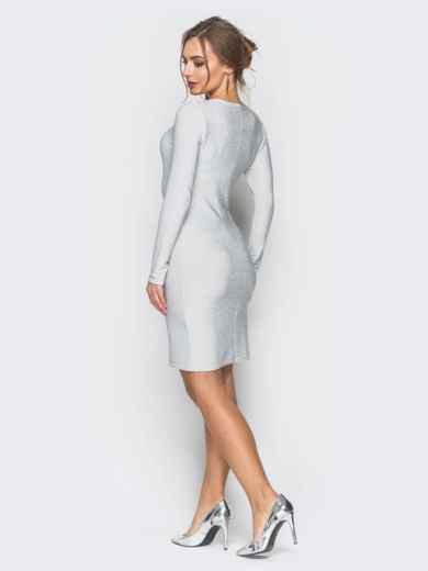 Трикотажное платье с нитью люрекса белое - 18328, фото 3 – интернет-магазин Dressa