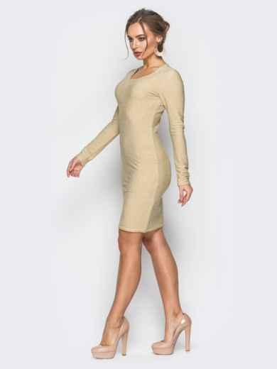 Трикотажное платье с нитью люрекса золотистое - 18330, фото 2 – интернет-магазин Dressa