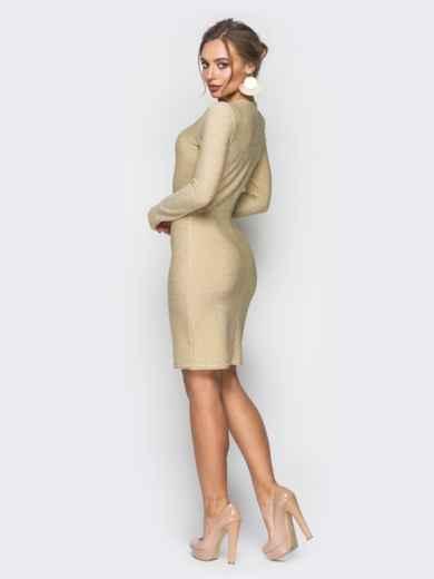 Трикотажное платье с нитью люрекса золотистое - 18330, фото 3 – интернет-магазин Dressa
