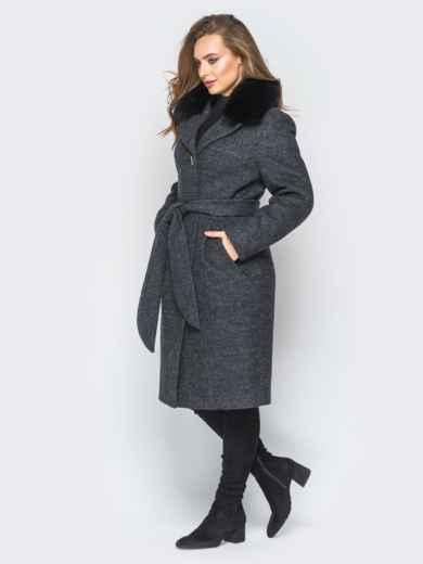 Зимнее пальто с натуральным мехом тёмно-серое - 18310, фото 2 – интернет-магазин Dressa