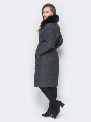 Зимнее пальто с натуральным мехом тёмно-серое - 18310, фото 3 – интернет-магазин Dressa
