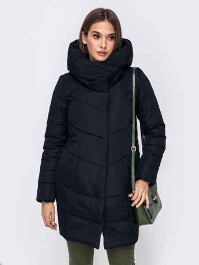 Зимняя куртка с объемным капюшоном черная 50927, фото 1