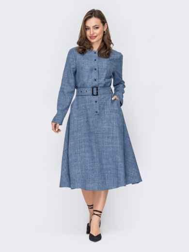 Платье-рубашка ниже колен голубое 53528, фото 1