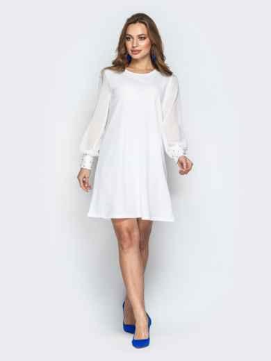 Белое платье с шифоновыми рукавами и жемчужинами на манжетах 20608, фото 1