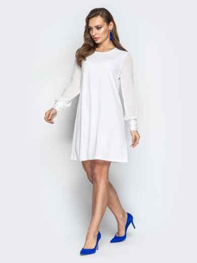 Белое платье с шифоновыми рукавами и жемчужинами на манжетах 20608, фото 2