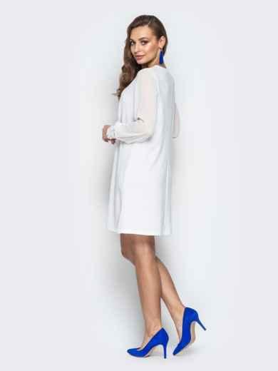 Белое платье с шифоновыми рукавами и жемчужинами на манжетах 20608, фото 3