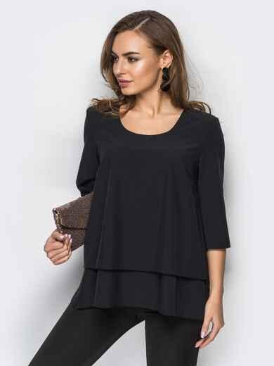 Черная шифоновая блузка с двухъярусным низом 12423, фото 1